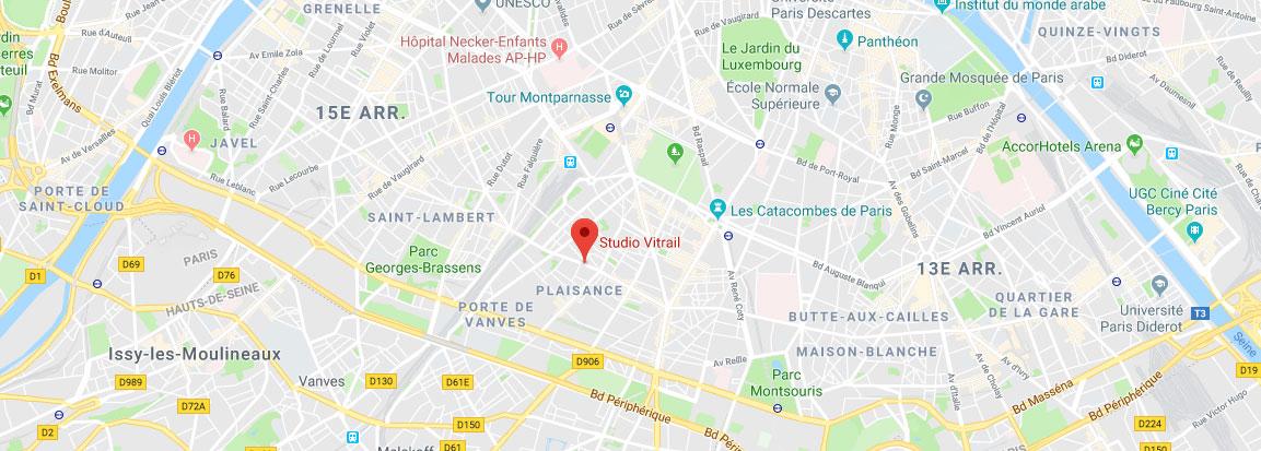 Plan d'accès Studio Vitrail Paris